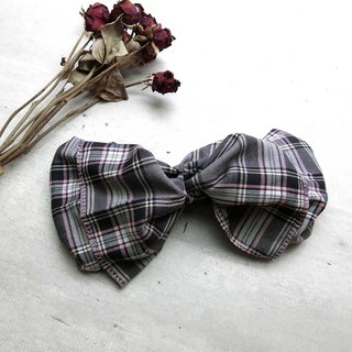 Giant butterfly hair band (checkered gray powder) - the whole strip can be taken apart