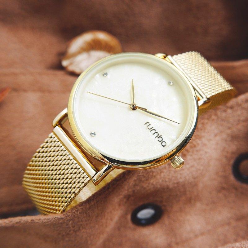 rumba time RU27723 紐約品牌 珍珠母貝 不鏽鋼手錶 鍍金 32mm