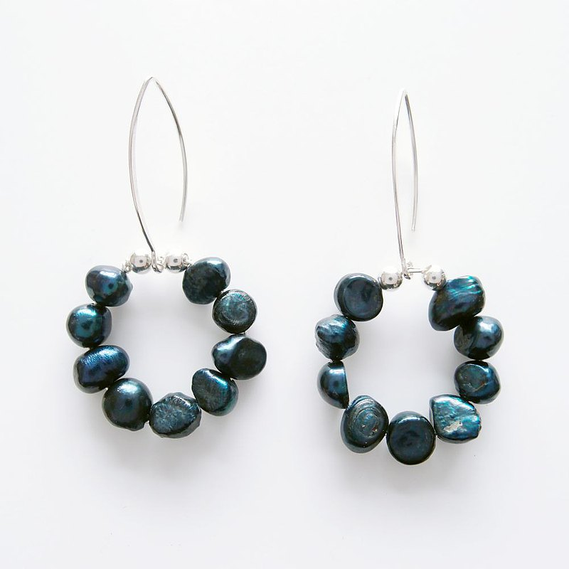 Starry night ring pearl earrings