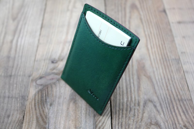 APEE leather handmade ~ simple business card holder ~ plain grass green