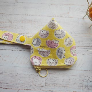 Yellow bottom hedgehog three-dimensional triangle pacifier bag