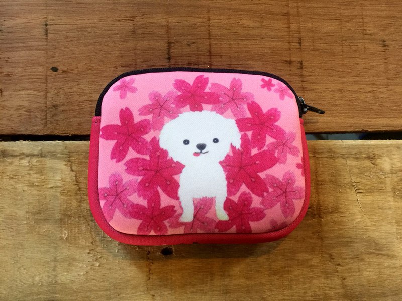 Diving cloth coin purse - small white dog in the cherry blossoms