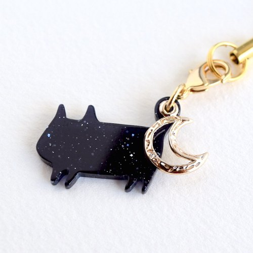Lame black cat strap