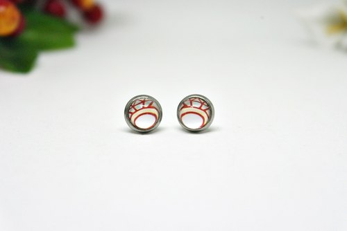 X stainless steel needle time gem earrings * red ring * ➪ Limited X1