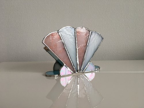 Holder stand Peach blue white glass bay view