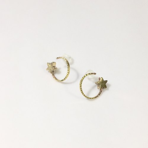 Planet brass earrings / sterling silver ear pin