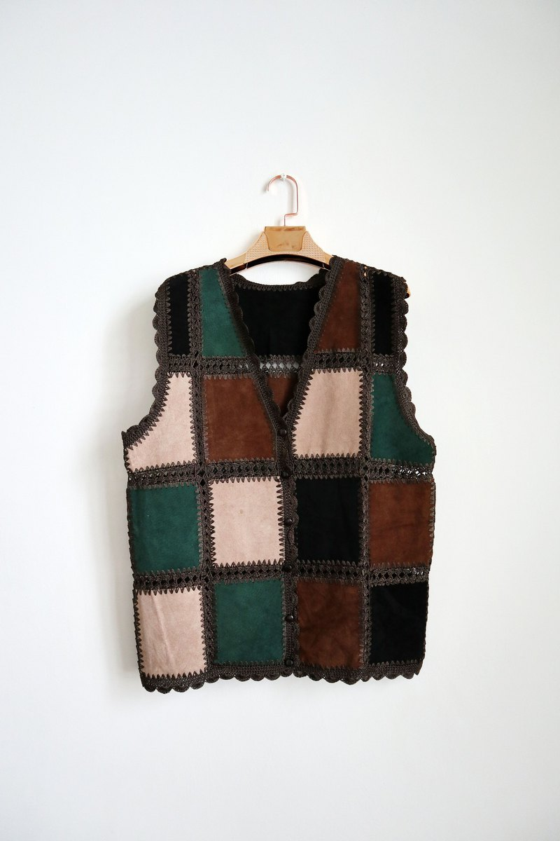 Pumpkin Vintage. Vintage stitching leather vest