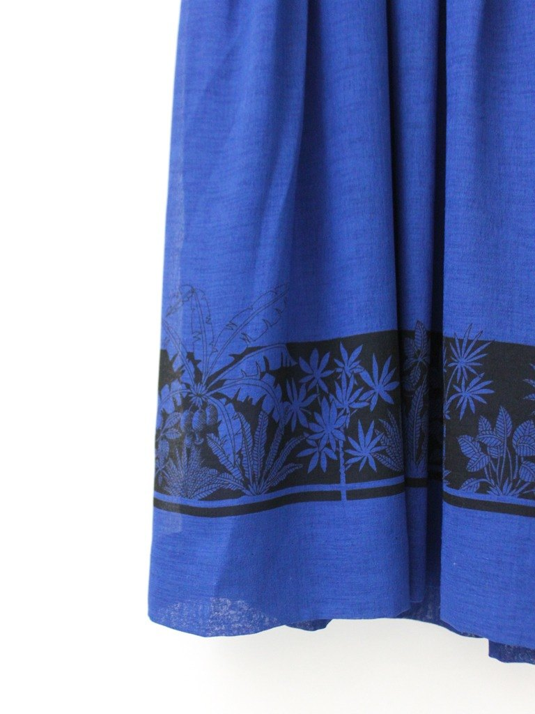 【RE0614D1233】 early summer Japanese system retro deep treasure blue simple shoulder short-sleeved ancient dress