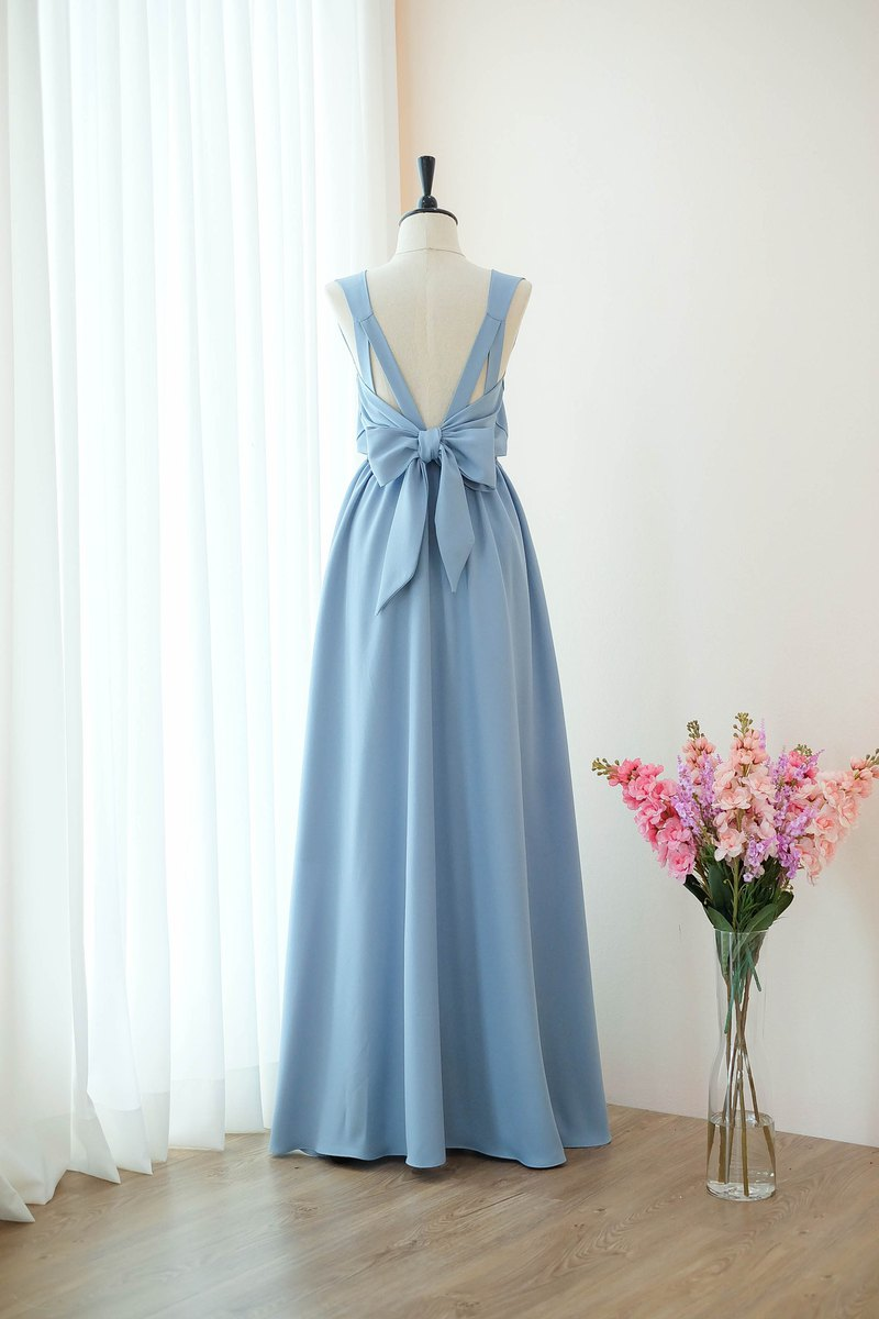 Grayish Blue dress Bridesmaid Bridal Dress Prom Cocktail Party Wedding Dress