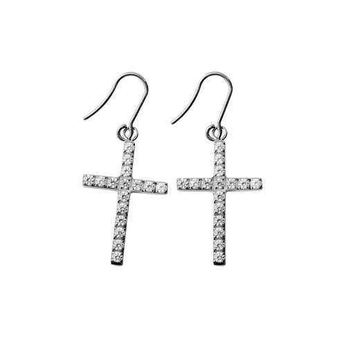 Brilliant cross - translucent white titanium earrings a pair