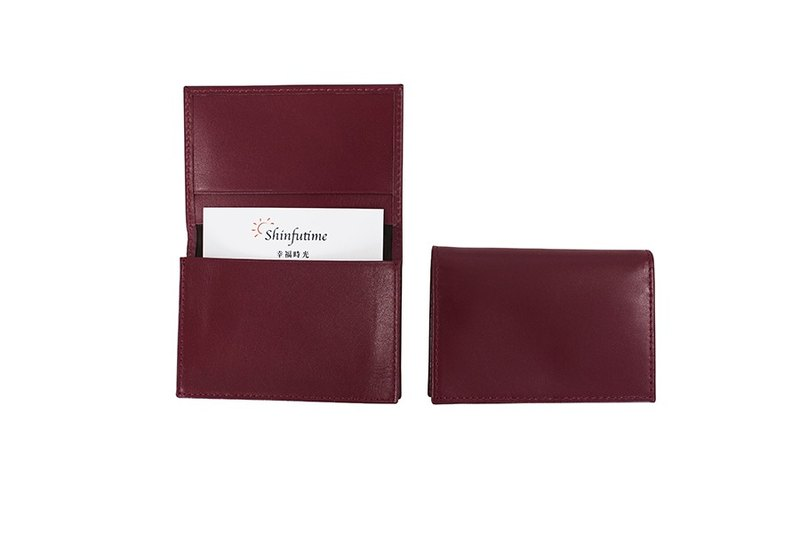 LAPELI │ plain cow leather business card holder sweet potato purple