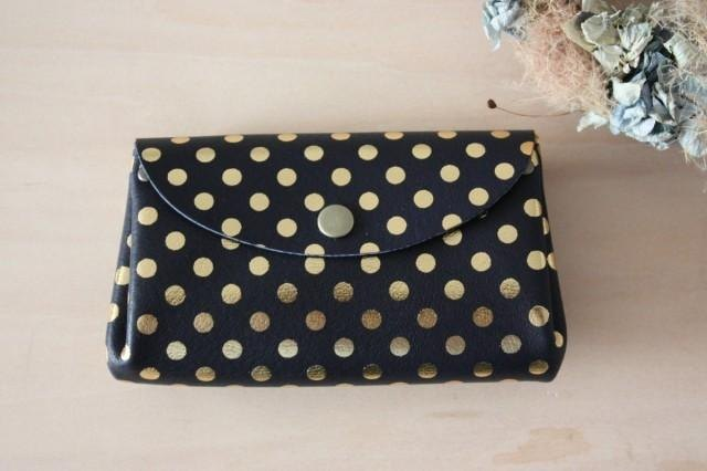 Small wallet polka dot navy of pigskin