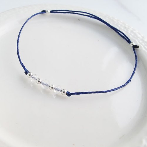 . Members 囡 Aberdeen. Handmade Silver] Positive energy natural stone × silver beads ultra-fine wax rope Moonstone white crystal cutting beads bracelet handmade sterling silver blue