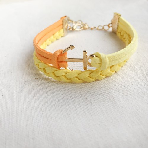 Handmade Double Braided Anchor Bracelets Rose Gold Series-yellow