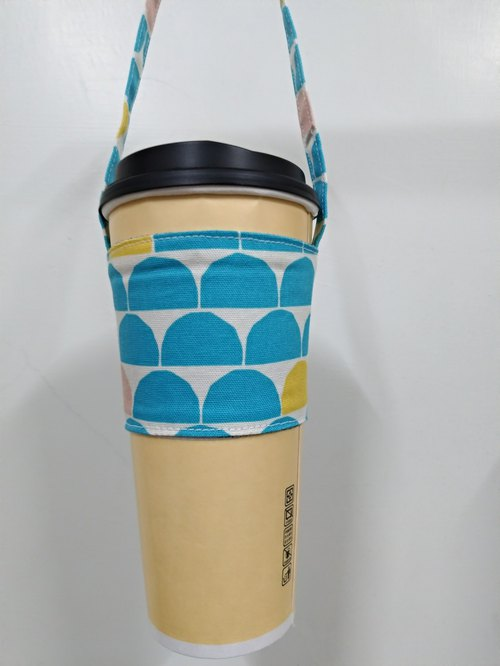 Drink Cup Set Eco Cup Set Hand Drink Bag Coffee Bag Tote Bag - Semicircle (Blue Point on White)