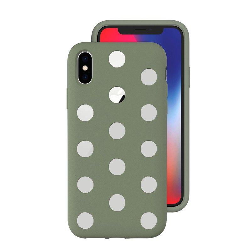 AndMesh-iPhone Xs圓點雙層防撞保護套-泥綠色(4571384958967