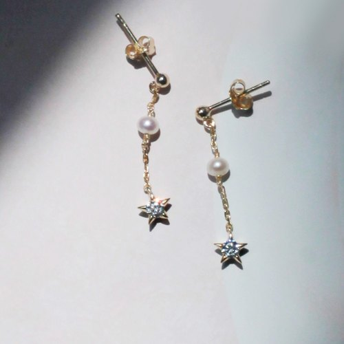 Miss Gold Star Necklace 925 Sterling Silver Gold Pearl Necklace