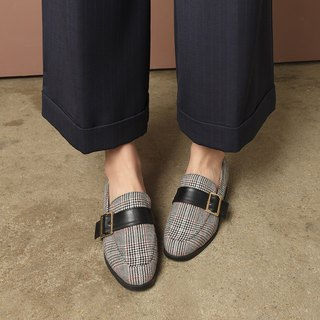 SPUR CHECKED BELT LOAFER LF7087 BLACK