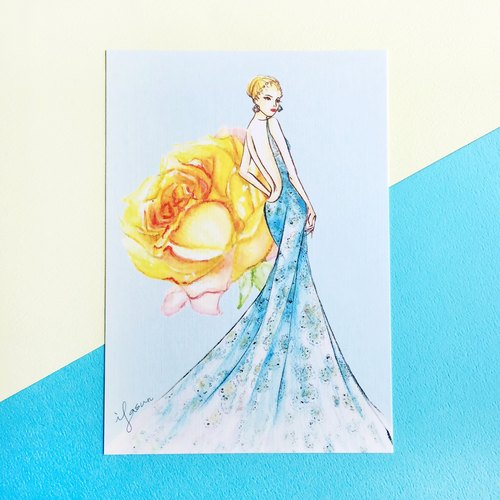Fashion Illustration Postcard | Lace Blue