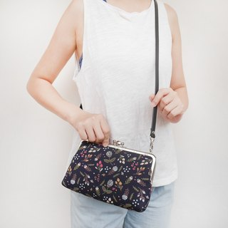 Wall flower blue girl two grid shoulder bag / mobile phone bag / mouth gold package [Made in Taiwan]