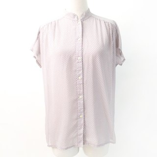 Retro Japanese Grey Purple Dot Short Sleeve Vintage Shirt Japanese Vintage Blouse