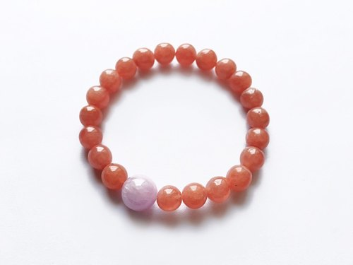 [Ofelia.] Customized high grade rhodochrosite x purple lithium fry bracelet