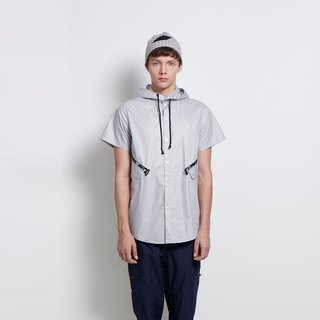 Rainy record - short brim collar collar short-sleeved shirt - gray