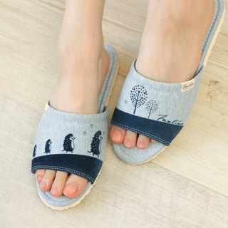 Organic cotton flocking indoor slippers (hedgehog family)