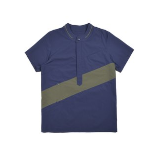 oqLiq - AdHeRe - Yamakawa variant Henry collar short-sleeved top (blue and green color matching)