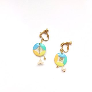 Swaying wind bell clip / pin earrings