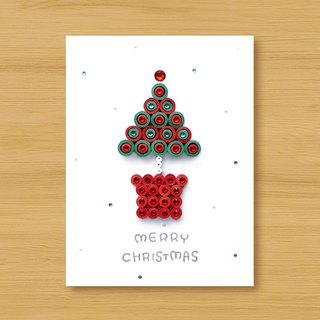 Handmade rolled paper card _ Christmas wishes small potted merry christmas_H