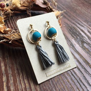 Earrings - tassel series / personality black and white mixed color tassel + blue green ball