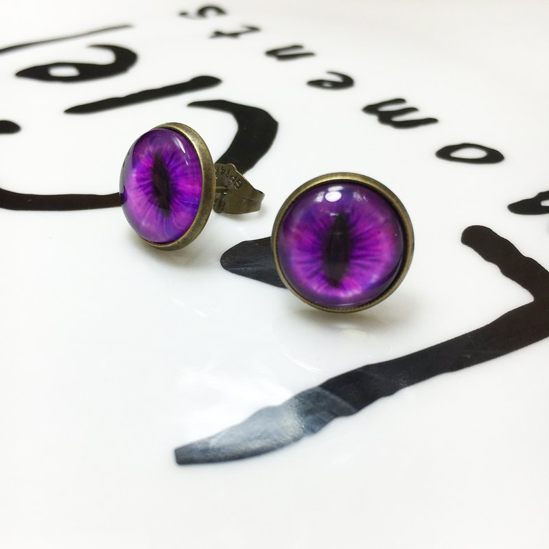 Bronze hand-made earrings 〖〗 misty purple cat pupil impression provides another cat ◙ ◙ change cramping