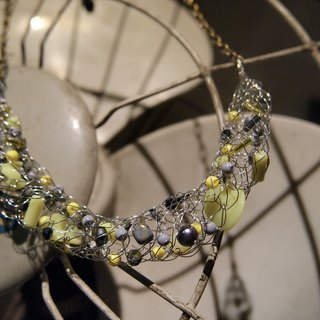 N119 stylish custom hand-woven copper flashing silver gray with yellow beads and chain items