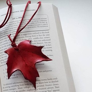 Maple Leaf Mood Red ~ Leather Bookmark / Charm / Necklace