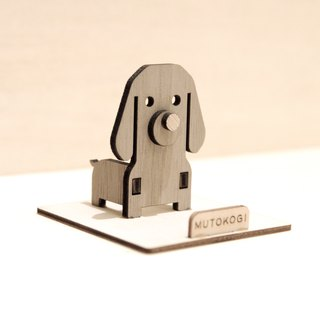 Lively small dachshund x handmade wooden mobile phone holder dachshund wedding small things exchange gifts MUTOKOGI
