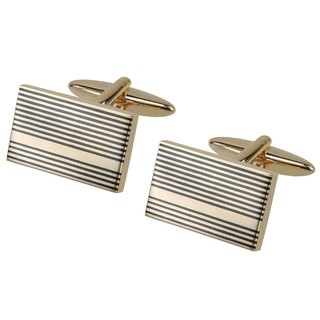 Gold with Black Gunmetal Stripes Cufflinks