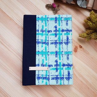A5 / 25K Cloth Book Cover Adjustable Book Cover Blue Green Check