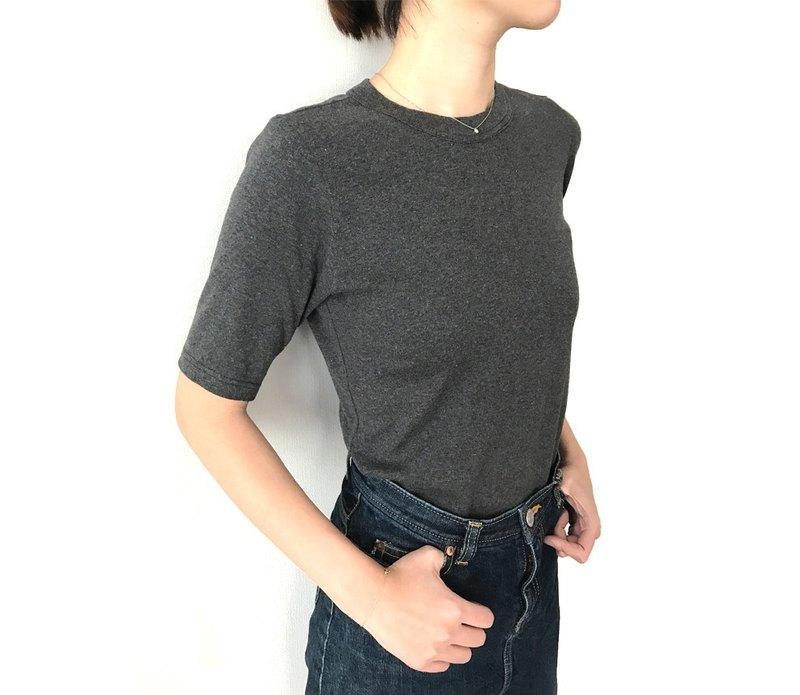 日本製 有機棉 剪裁講究 大人的 4 分袖素色 T-shirt 墨灰色