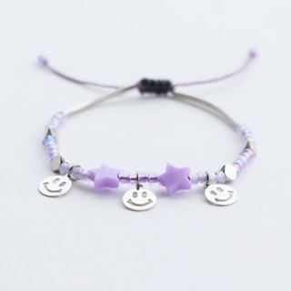 Smiley purple star adjustable string bracelet