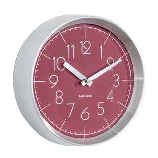 Karlsson, Wall clock Convex glass burgundy red, brushed aluminum case