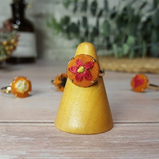 Embroidered cloth ring _ warm maple series _ flowers