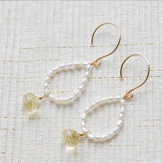 Small pearl and lemon quartz earrings 14 kgf