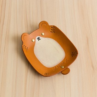 Animal Series - Hand painted leather small cap / jewelry storage / (brown bear)