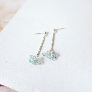 Handmade Aquamarine with sterling silver Drop Earring, March Birthstone