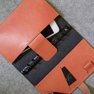 YOURS A6size plug-in notebook special edition - can put iphone7 personality black leather + bright orange