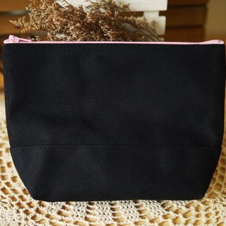 Simple cosmetic Storage bag black x black x pink - strawberry ice cream charcoal -