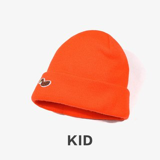 KIDS Duck Embroidered Warm Wool Cap:: Orange Orange::