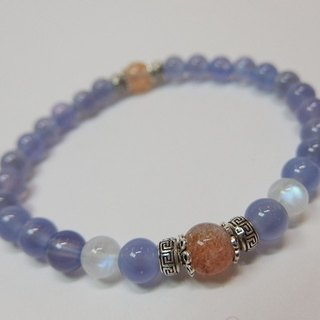 Warm and warm sun and moon - natural purple chalcedony + blue moonstone + gold sand sun stone sterling silver handcuffs