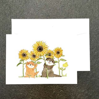 Bibi&Tata cute otter sunflower postcard 1 piece